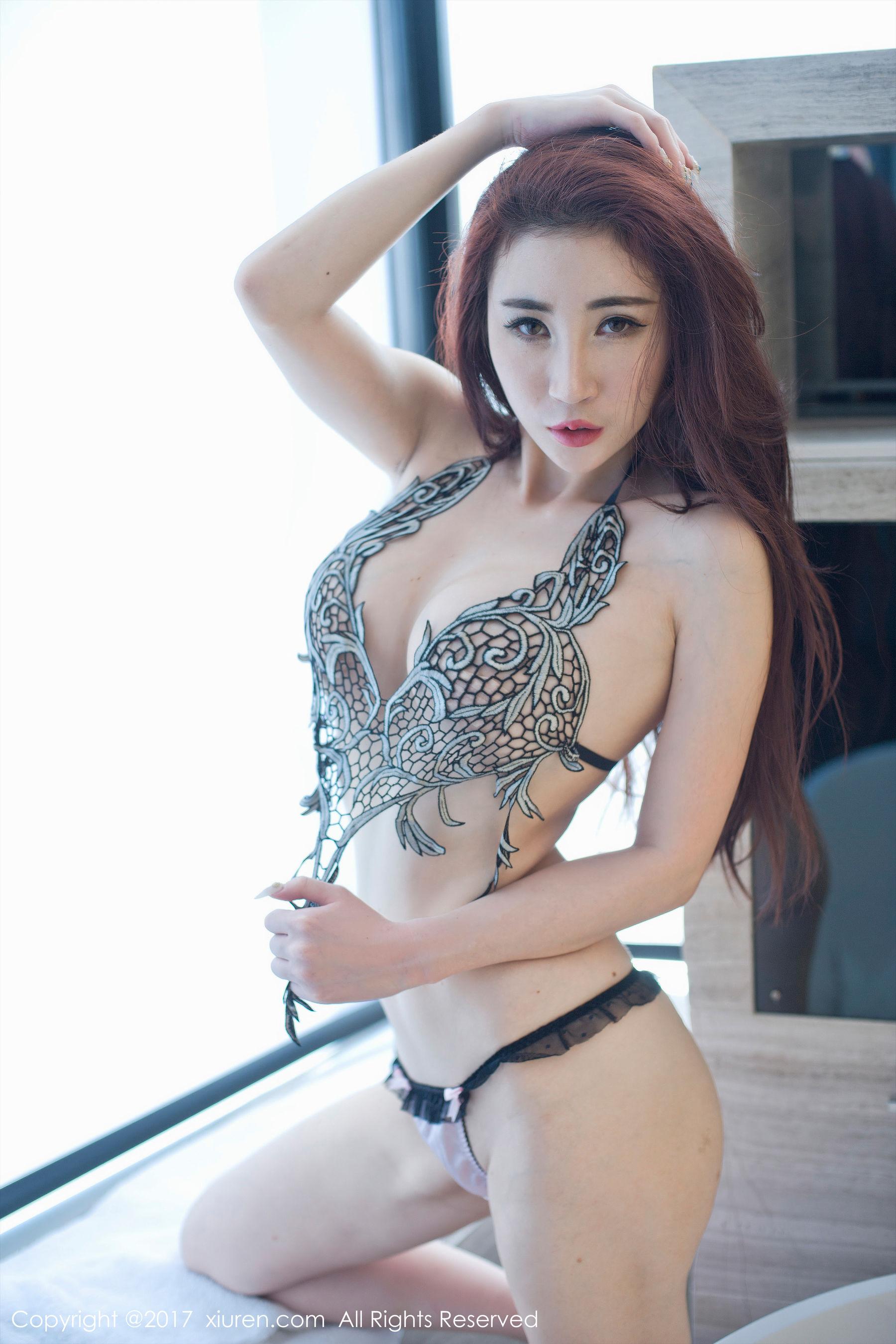 孙梦瑶V蕾丝透明纱衣+黑色镂空文胸-第16张图片-哔哔娱乐网